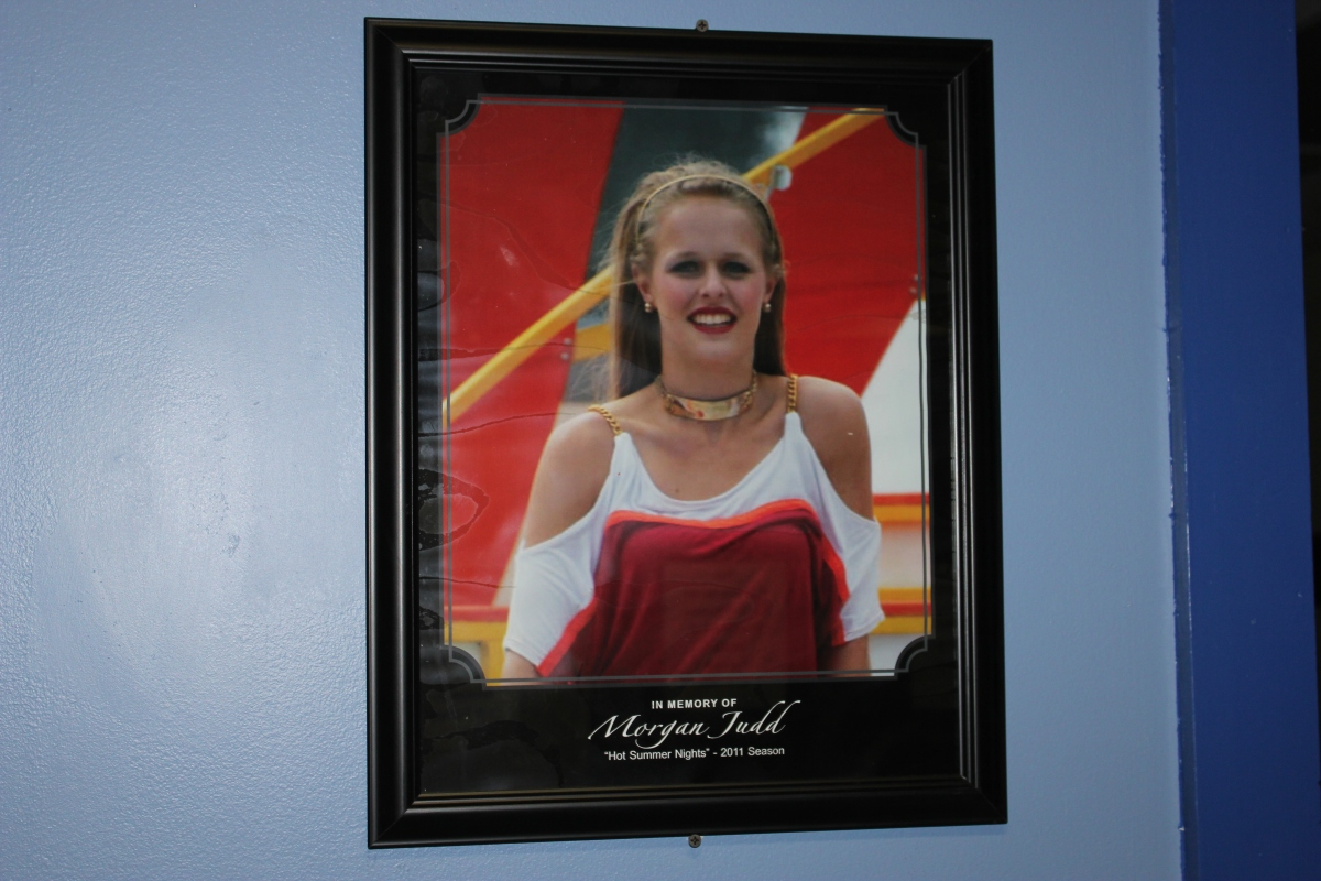 Photo of Morgan in Kings Island Dressing Room 2012
